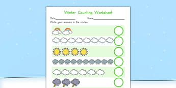 Winter Counting Worksheet - seasons, weather, count, maths