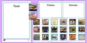 Photo Animals, Clothes and Food Sorting Activity - sorting, activity, photo