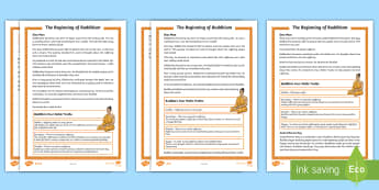 KS2 The Beginning of Buddhism  Differentiated Fact File - asala-dharma, celebration, Buddha, Buddhists, RE