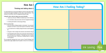How Am I Feeling Today? A4 Display Poster - personal, social, emotional, feelings, family