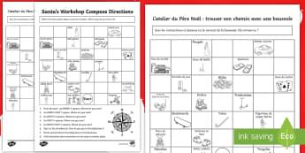 Christmas Compass Activity English/French - Christmas, Nativity, Jesus, xmas, Xmas, Father Christmas, Santa, christmas maths, compass directions