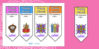 Editable Diwali Bookmarks - Bookmark, bookmark template, gift, present, book, reward, achievement, Diwali, religion, hindu, hanoman, rangoli, sita, ravana, pooja thali, rama, lakshmi, golden deer, diva lamp, sweets, new year, mendhi, fireworks, party