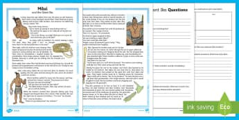 Māui and the Giant Ika Differentiated Reading Comprehension Activity