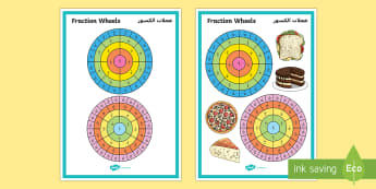 Fraction Wheels Display Poster Arabic/English - Year 4 Maths Assessment: Number Fractions Term 3 - year 4, maths, assessment, equivalent fractions,