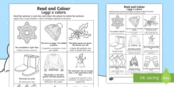 Winter Read and Colour Activity Sheet English/Italian - winter, read and colour, read, colour, activity, worksheet, EAL