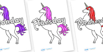 Days of the Week on Unicorn - Days of the Week, Weeks poster, week, display, poster, frieze, Days, Day, Monday, Tuesday, Wednesday, Thursday, Friday, Saturday, Sunday