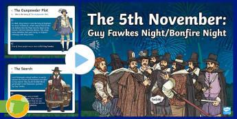 Guy Fawkes - Bonfire Night English Audio PowerPoint - English culture, celebrations, festivals, November, remember,Spanish