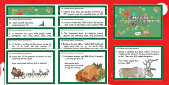 Addition and Subtraction Christmas Challenge Cards  - maths, mathematics, numeracy, challenge cards, problem solving, addition, add, sum, subtraction, tak