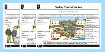 Find 1/2, 1/4, 1/3 or 3/4 of a Set of Objects Differentiated Worksheet / Activity Sheets - Fractions, 1/2, 1/3, 1/4, 3/4, fraction strip, zoo, animal, half, halves, third, quarter, shape