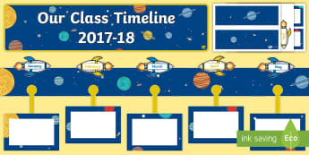 Our Class Timeline 2017 - 18 Space Themed Display Pack  - CfE Class Display, space, timelines,rockets, planets,
