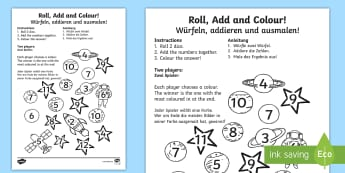 Space Roll and Colour Dice Addition Activity English/German - EAL, german, space, addition, +, maths, game