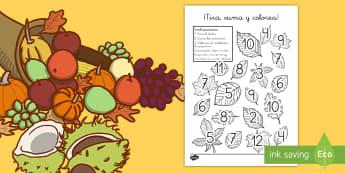 Ficha: ¡Tira, suma y colorea! - Las hojas - tira, suma, colorea, colorear, sumar, adición, colores, hojas, otoño, ficha, actividad, dado, dado