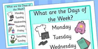 Days of the Week Large Display Poster - classroom management