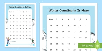 Winter Counting in 2s Maze Worksheet / Activity Sheet