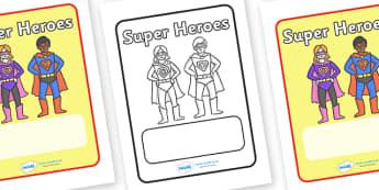 Editable Superhero Book Covers Colour - Superhero, superheroes, book covers, colour, editable, hero, batman, superman, spiderman, special, power, powers, catwoman, liono, he-man