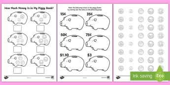 How Much Money Is in My Piggy Bank? Activity Sheets - Canada KS1 Maths Resource Movement, money, canadian, currency, coins, CAD