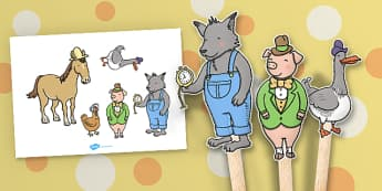 Stick Puppets to Support Teaching on What's The Time, Mr Wolf? - activity, puppet, sticks