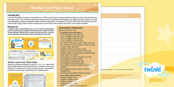 PlanIt Maths Y3 Number and Place Value Overview