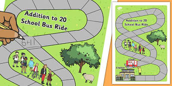 Addition to 20 Bus Board Game - adding, games, maths, numeracy