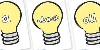 100 High Frequency Words on Light Bulbs (Plain) - High frequency words, hfw, DfES Letters and Sounds, Letters and Sounds, display words