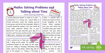 Use Everyday Language to Talk about Time and Solve Problems Home Learning Challenges - EYFS, Early Years, Home Learning, Homework, Home School Links, Maths, Mathematics, telling the time,