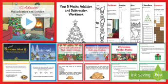 Year 5 Christmas Maths Activity Pack - multiplication, division, addition, subtraction, fractions, decimals
