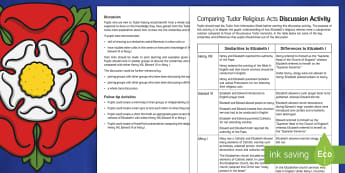 Comparing Tudor Religious Acts Discussion Activity - Elizabethan Religious Settlement, reforms, acts, religious, Henry VIII, Elizabeth I, Edward VI, Mary