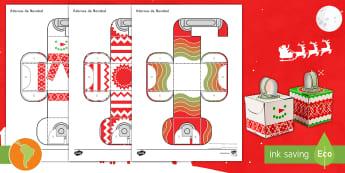 Modelo de papel: Adornos de Navidad - Navidad, bambalinas, adornos de navidad, decoración de navidad, español, spanish