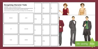 An Inspector Calls: Recognising Character Traits Worksheet / Activity Sheet - An Inspector Calls, an inspector calls characters, characters in a play, lower ability key stage 4 l