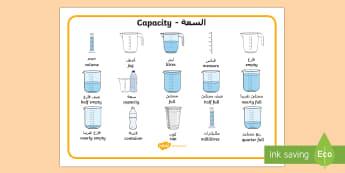 Capacity Word Mat Arabic/English - Capacity Word Mat - capacity, measure, maths, numeracy, word mats, Capacity, volume, measure, litre,