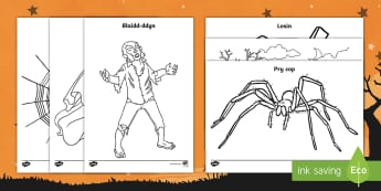 Taflenni Lliwio Calan Gaeaf - Halloween, colouring, calan gaeaf, lliwio, nos galangaeaf, gwrach, fampir