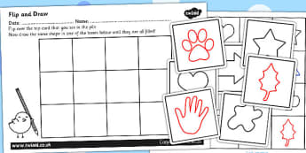Flip and Draw Fine Motor Skills Sheets and Cards Activity - ESL Drawing Resources