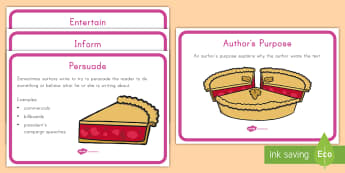 Author's Purpose Display Posters - Author's Purpose, Inform, Persuade, Entertain, Purpose