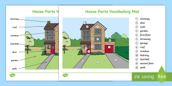 Parts of the House Word Mat - House, casa, partes, parts, study, vocabulary,Spanish