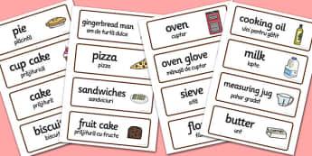Bakery Word Cards Romanian Translation - romanian, bakery, word cards