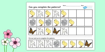 Spring Complete the Pattern Worksheet - spring, patter, sheet
