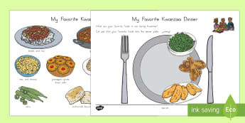 My Favorite Kwanzaa Dinner Cut and Stick Activity Sheet - Kwanzaa foods, worksheet, cut, stick, gumbo, rice, peas, beans, collard greens, food, eating, family