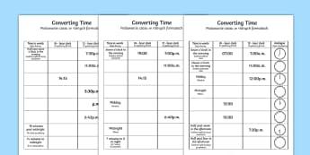 Converting Time Activity Sheet Polish Translation-Polish-translation - time, conversion, clocks, polish translation, 24 hour, 12 hour, analogue, digital