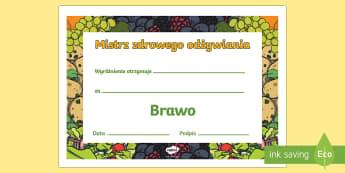 Certyfikat Mistrz Zdrowego odżywiania - żywienie, odżywianie, jedzenie, jeść, zdrowie, chigiena,Polish