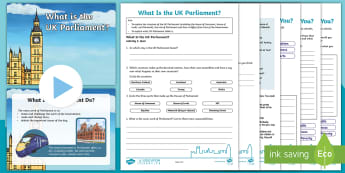 UK Parliament: Lesson 1 What Is the UK Parliament? Lesson Pack - House Of Lords, House Of Commons, Monarch, Voting, UK Parliament Week, Democracy, Voting, Decision M