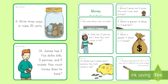 Money Task Cards - money, currency, dime, penny, nickel, quarter