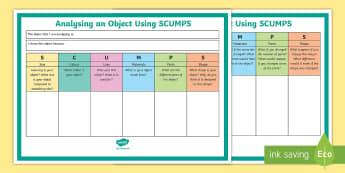 SCUMPS Analysis Activity Sheet - sCUMPS, Thinking, Thinking Tools, Technology, Brain, Analysis, worksheet