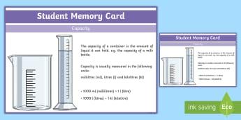 Sixth Class Capacity Fact Cards - capacity, liquids, facts, cards, memory, learning log, maths journal,Irish