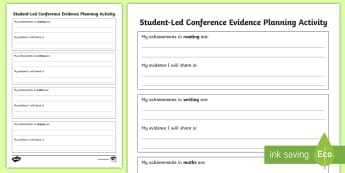 Student-Led Conference Evidence Planning Activity - reports, managing self, conferences, new zealand, goals, progress, updates, goal setting