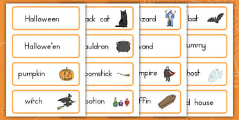Halloween Vocabulary Cards - ESL Halloween Words