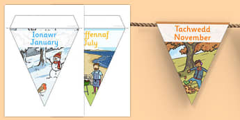 Months of the Year Display Bunting English/ Welsh- months of the year bunting, months of the year, months of the year on bunting, months bunting, months on bunting, months of the yearenglish, bounting
