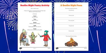 Bonfire Night Poetry Activity - fireworks, november, 5th, fifth, poem, colour, noise, writing, english, fiction, key stage 2, ks2, ks1