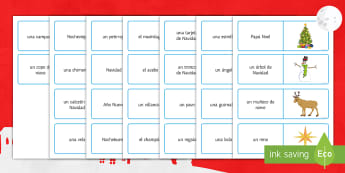 Christmas Key Vocabulary Dominoes Spanish - Christmas, reading, game, board, groups, pairs, revision