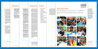 Bold beginnings: The Reception curriculum in a sample of good and outstanding primary schools DfE Adult Guidance - EYFS, reception, outstanding EYFS, government, ofsted, provision, expectations, standards