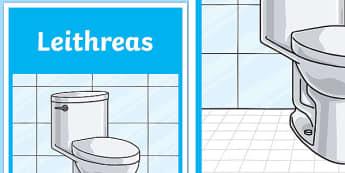 Leithreas Toilet Display Poster-Irish, toilet, sign, poster, display